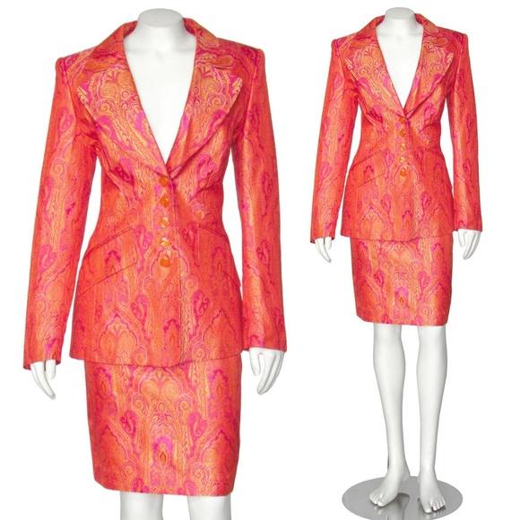 2eb01efa5 Escada Dresses & Skirts - Escada Pink Orange Paisley Silk Brocade Skirt Suit
